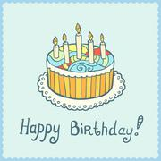 Birthday card with cake on blue textured background - stock illustration