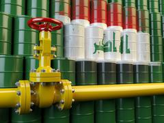 Oil pipe line valve in front of the flag of Iraq on the oil barrels. Iraqi ga - stock illustration