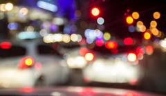 Blur image of inside cars with bokeh lights - stock photo