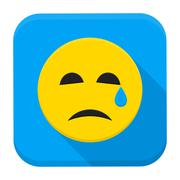 Crying Yellow Smiley Face App Icon Stock Illustration