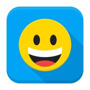 Laughing Yellow Smiley Face Flat App Icon - stock illustration