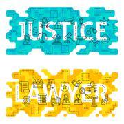 Justice Lawyer Outline Flat Concept - stock illustration
