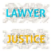 Lawyer Justice Line Art Concept - stock illustration