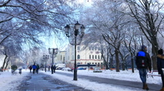 Zoom out view of the historic downtown of Kecskemet in winter Stock Footage