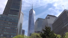 New world trade center  building in New York city. 911 Memorial Plaza. Stock Footage