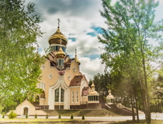 St. Elias Church in Slavutych Stock Footage