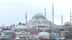 View of the Hagia Sophia from the riverside in Istanbul Stock Footage