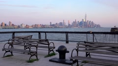 Lower Manhattan with new world trade centre building in the middle Stock Footage
