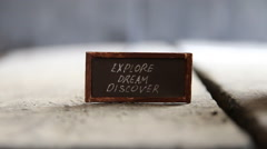 Explore Dream Discover idea Stock Footage