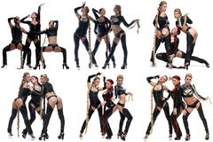 Collage of sexy female dancers with long pigtails Stock Photos
