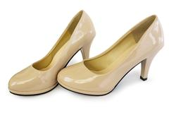 Elegant shoes of beige color - stock photo