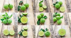 Bergamot on wooden table, (Kaffir lime) - stock photo
