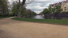 Charlottenburg Palace Garden and Park, walking trails along the Spree, Berlin Stock Footage