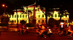 Static view of the post office in the Ho Chi Minh City at night Stock Footage