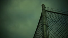 barbed wire prison camp fema - stock footage