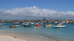 View of St. Ives harbor, Cornwall Stock Footage