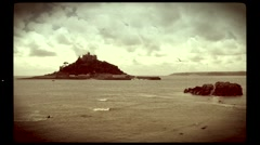 Old filmic view of St Michaels Mount, Cornwall - stock footage