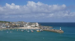 St. Ives harbor and boats Stock Footage