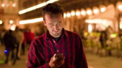 Man Texting Smartphone City Street Travel Vacation Venice Happy Lifestyle Stock Footage