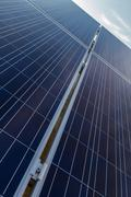 Photovoltaic solar panels diagonal perspective - stock photo