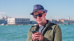 Man Smartphone Cool Communication Handsome Travel Sea Tourist Holiday Venice Stock Footage