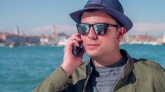 Man Talking Call Smartphone Cool Communication Handsome Travel Sea Venice Stock Footage
