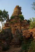 Vegetation reclaims ancient  Buddhist stupas - stock photo