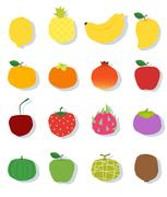 Set of fruit Healthy food - stock illustration