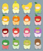 Set of kids in cute fruit costumes - stock illustration