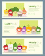 Kids in cute vegetable costumes banner Stock Illustration