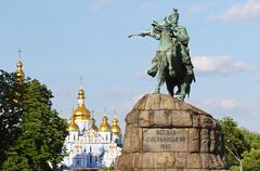 Monument of Bohdan Khmelnytsky on Sofia square in Kyiv, Ukraine - stock photo