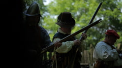 Colonial Era Soldiers - Load & Fire Muskets Stock Footage