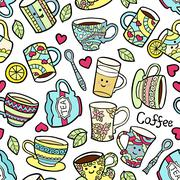 Seamless pattern with doodle tea accessories on warm dotterd background - stock illustration