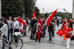 Berlin, Germany - May 28, 2016: Turkish groups protest vote on Armenian genocide Stock Photos