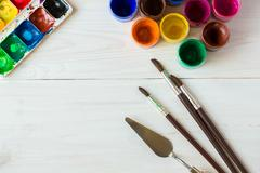 Art of Painting. Painting set: brushes, paints, watercolor, acrylic paint on - stock photo