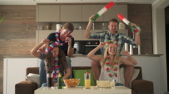 French and italien soccer fans at home Stock Footage