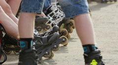 Group of roller-skating. Stock Footage