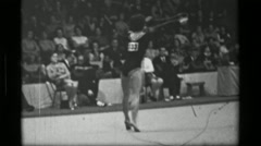 1967: Athlete #33 jump rope competition 3rd Women's Modern Rhythmic Gymnastics Stock Footage