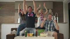 Corner goal cheering of french fans Stock Footage
