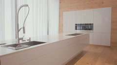 Large kitchen with modern design Stock Footage