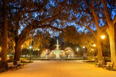 Savannah Georgia Park Stock Photos