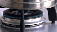 Gas burning from a kitchen gas stove, close up view Stock Footage