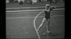 1967: Athlete #37 freehand competition 3rd Women's Modern Rhythmic Gymnastics Stock Footage