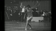 1967: Athlete #35 (part 2 of 2) freehand competition 3rd Women's Modern Rhythmic Stock Footage