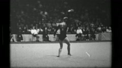1967: Athlete #12 freehand competition 3rd Women's Modern Rhythmic Gymnastics Stock Footage