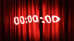 Countdown red curtain distorted Stock Footage