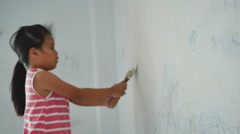 Girl were painted on the walls of the room Stock Footage