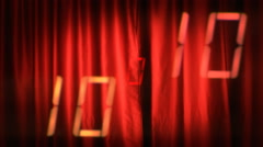 Countdown red curtain tv numbers Stock Footage