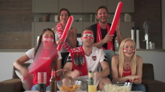 Very happy cheering austrian soccer fans Stock Footage