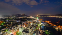 Shimonoseki, Japan Skyline Time Lapse at Night Stock Footage